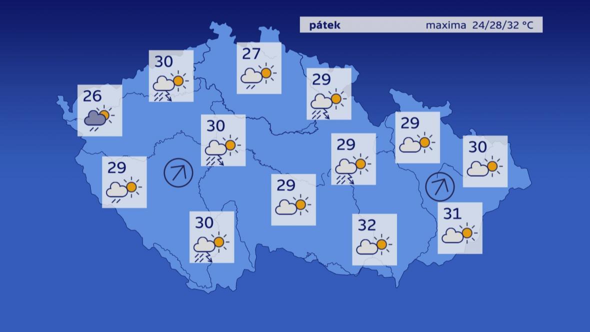 Předpověď počasí na pátek