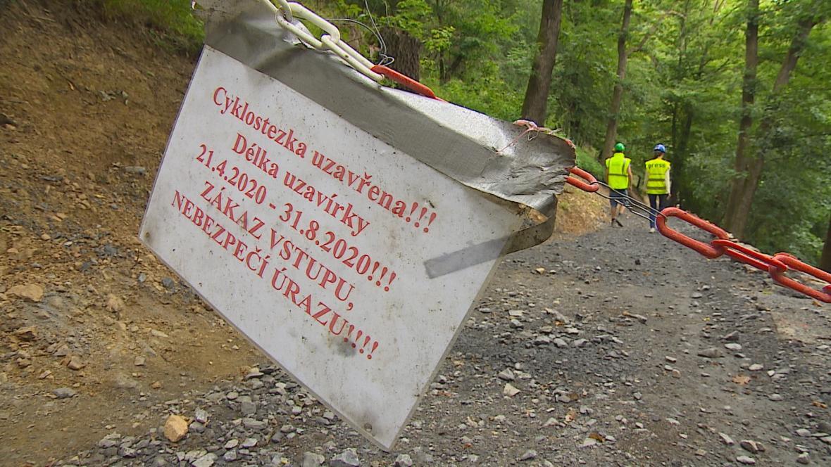 Zákazová cedule na Brněnské přehradě