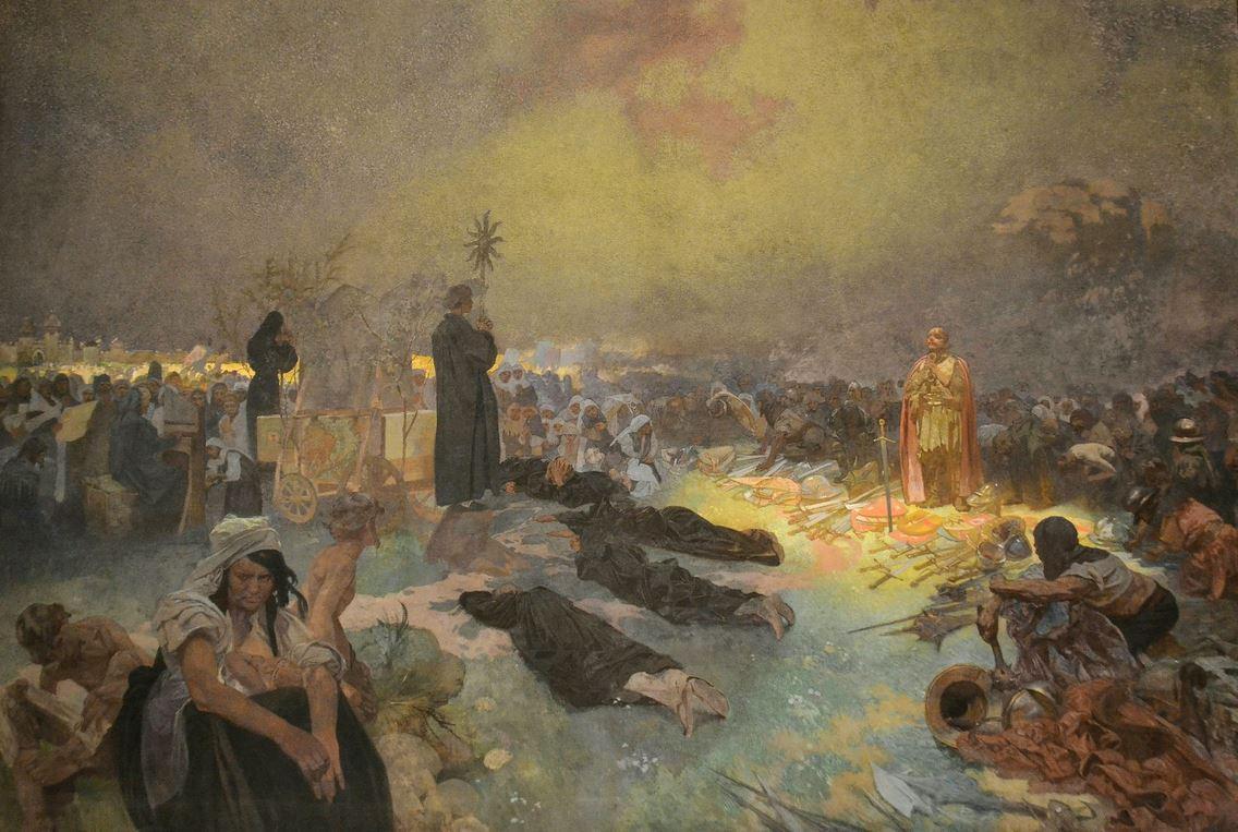Alfons Mucha: Po bitvě na Vítkově: Tě Boha chválíme z cyklu Slovanská epopej