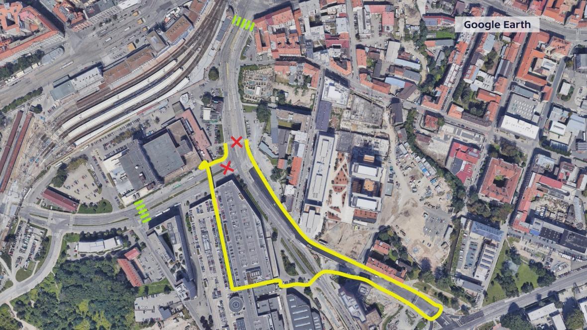 Kudy přejít ulici Dornych