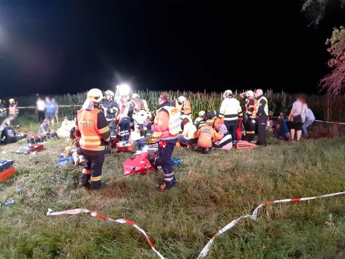 Zásah u nehody vlaku u Českého Brodu