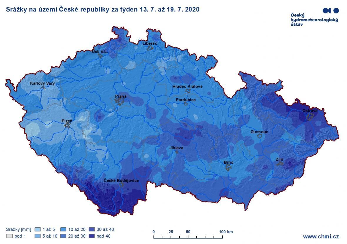 Srážky na území Česka za týden od 13. do 19. 7. 2020