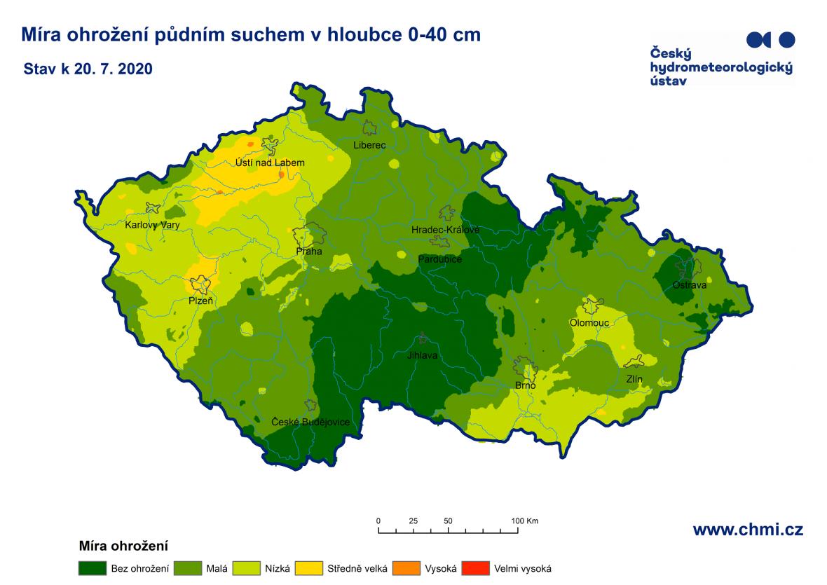 Míra ohrožení půdním suchem v hloubce 0 až 40 centimetrů