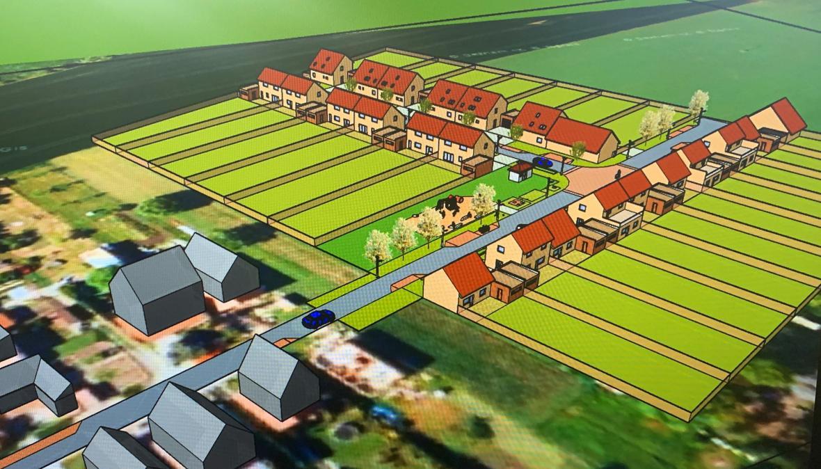 Vizualizace nové výstavby v Hruškách