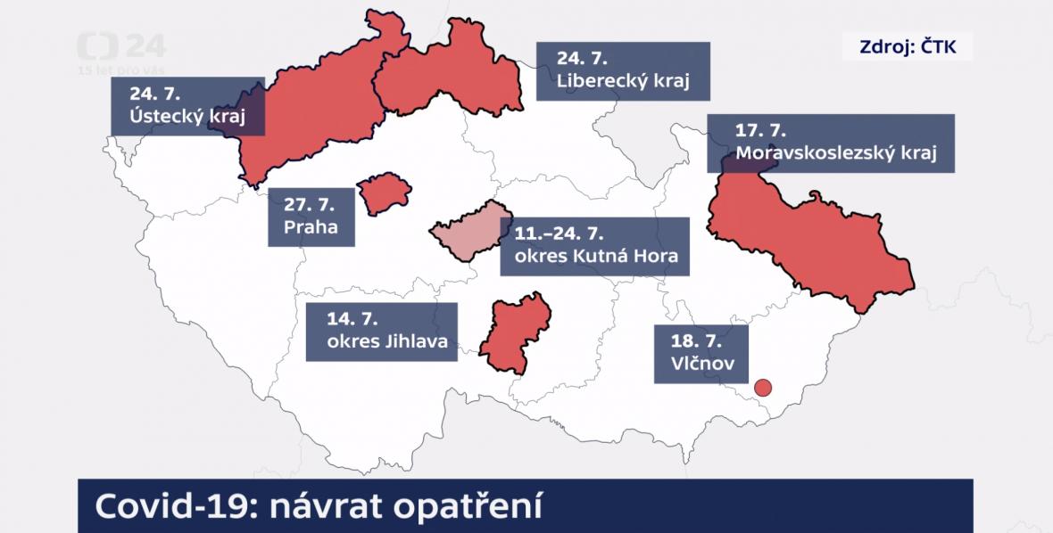 Přehled opatření podle regionů