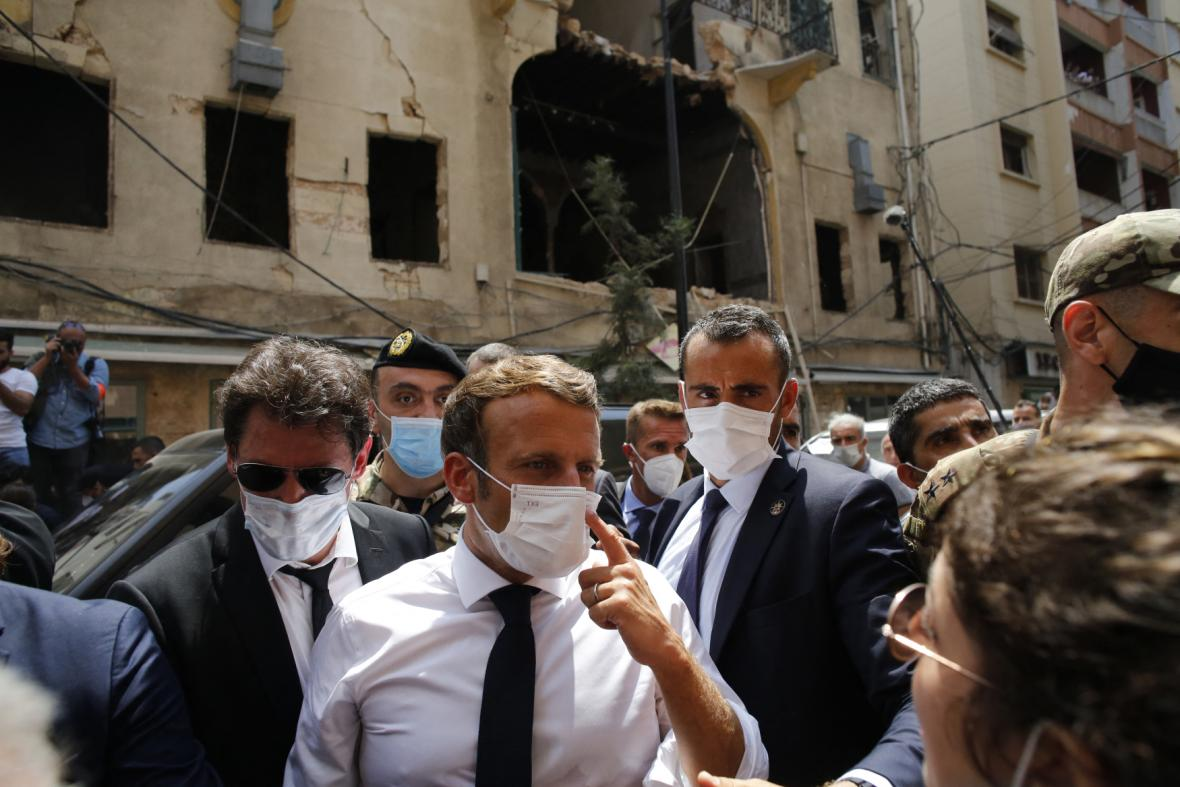 Emmanuel Macron v Bejrútu