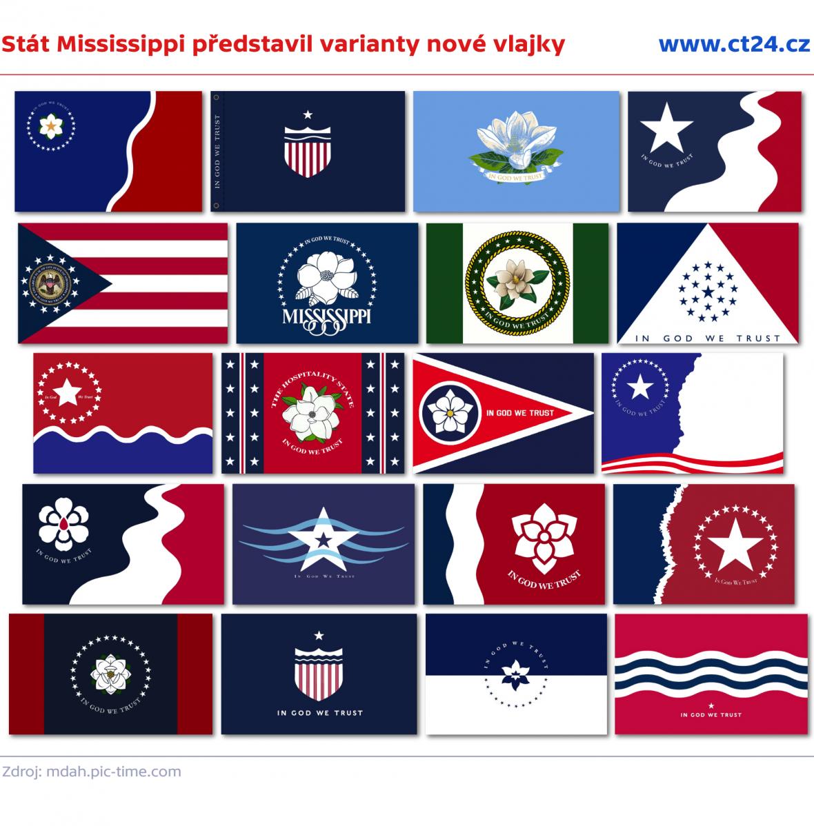 Stát Mississippi představil varianty nové vlajky