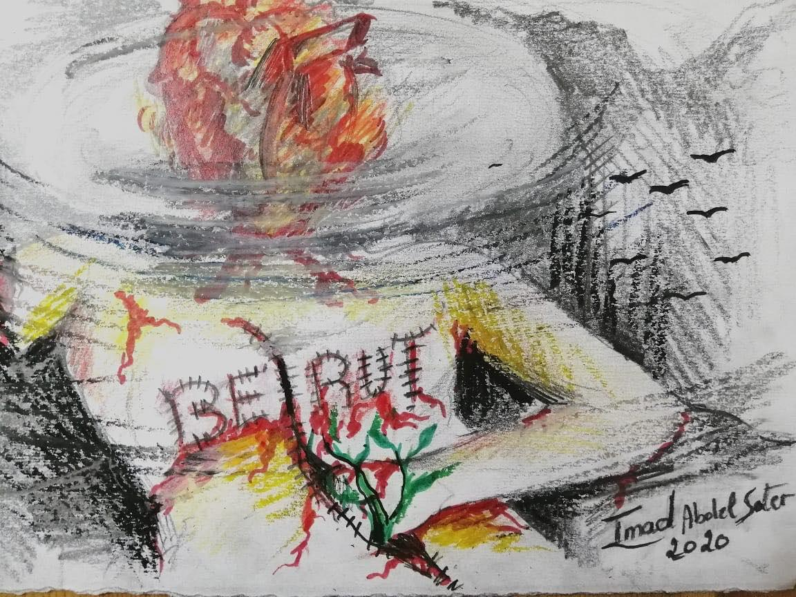 Kresba k připomenutí exploze v Bejrútu