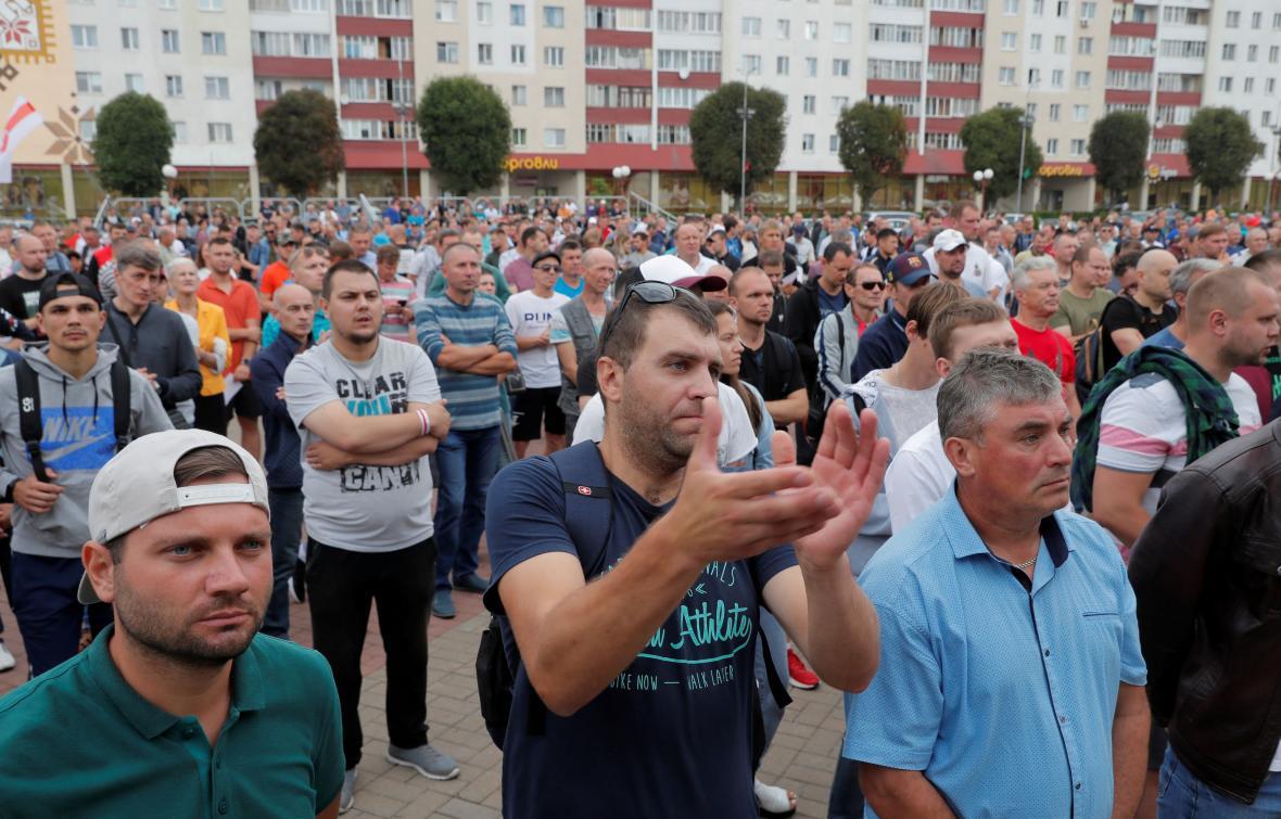Demonstrace horníků v Saligorsku 19. srpna 2020