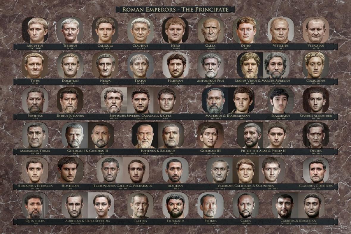 Rekonstruované tváře římských císařů