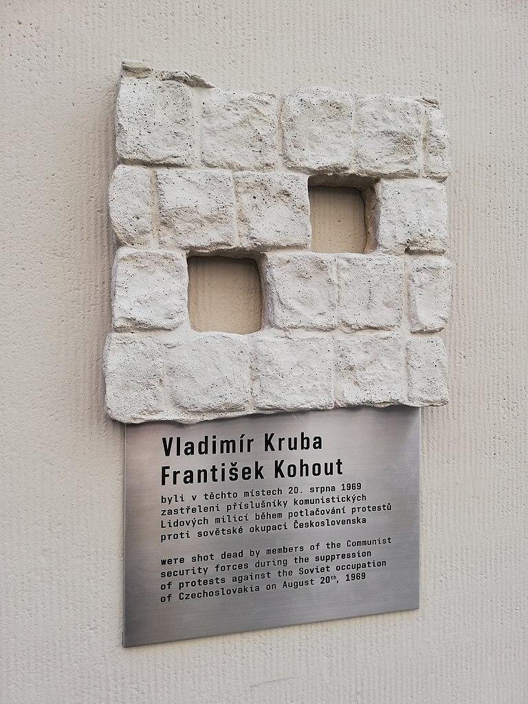 Pamětní deska Vladimíru Krubovi a Františku Kohoutovi v Praze
