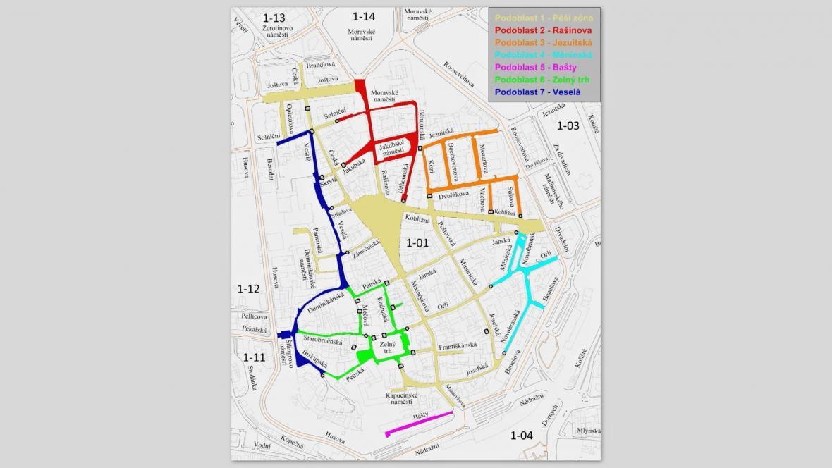 Mapa zón v centru Brna