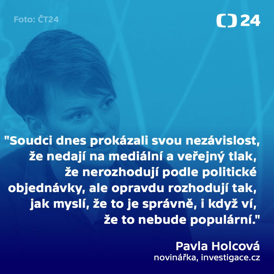 Pavla Holcová k rozhodnutí soudu v kauze Kuciak