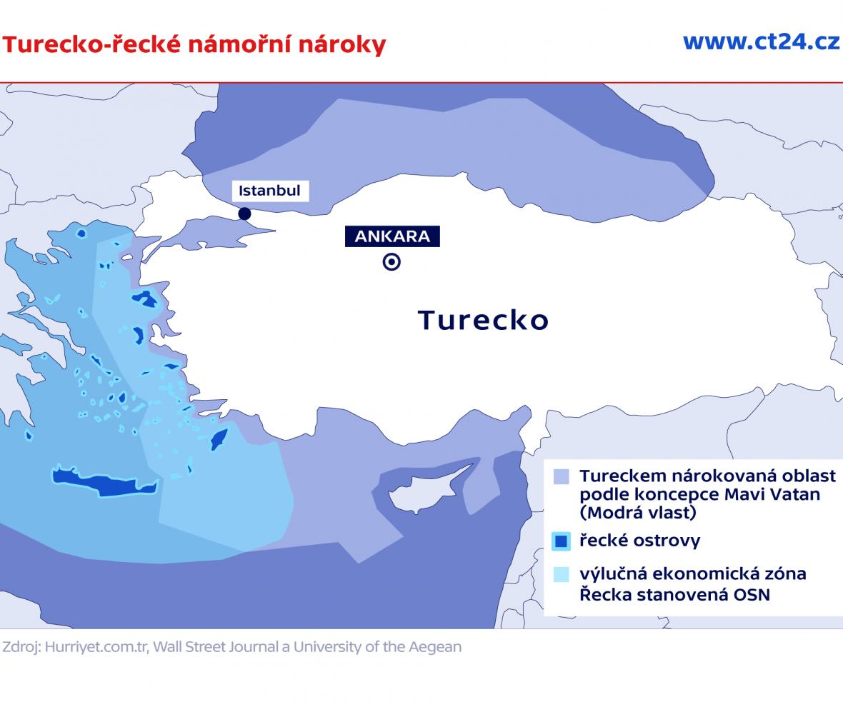 Turecké námořní nároky podle koncepce Mavi Vatan (Modrá vlast)