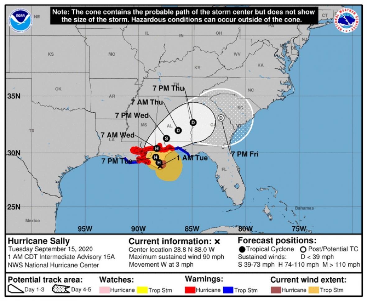 Předpověď postupu hurikánu Sally (časy vCDT, posun oproti Česku je o 7 hodin méně)