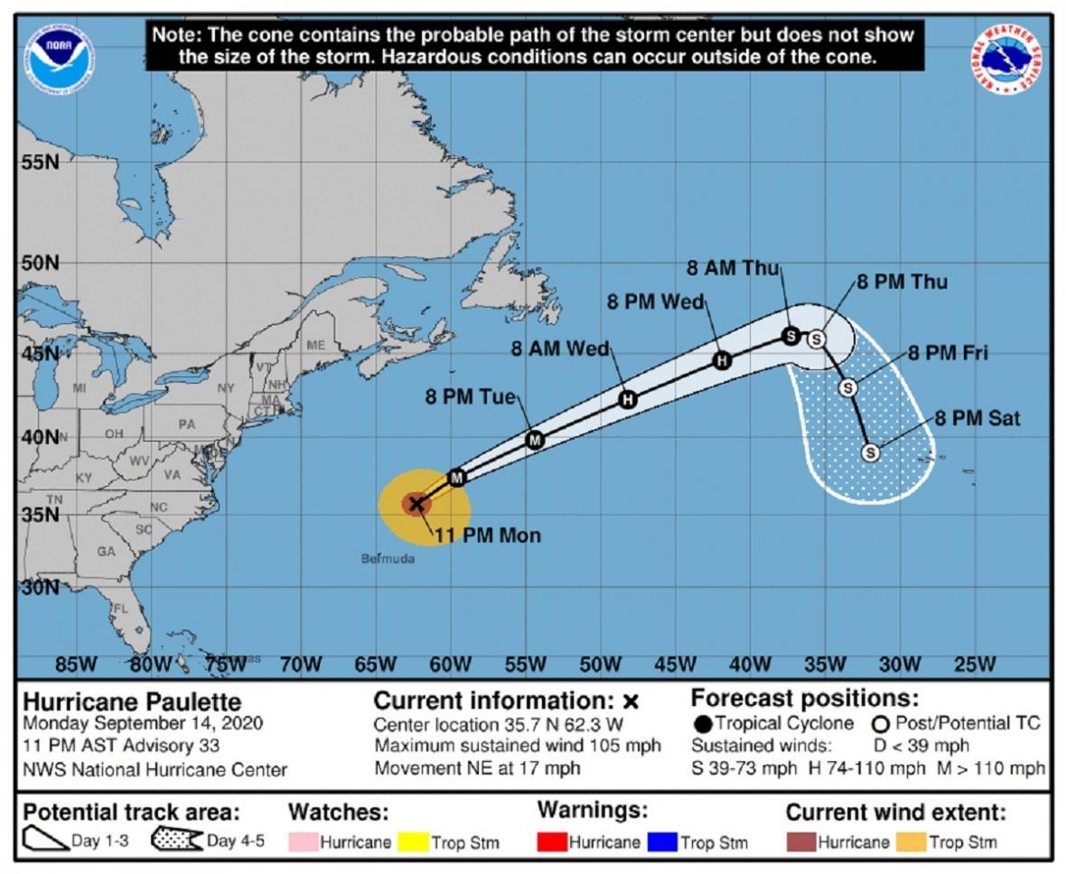 Předpověď postupu hurikánu Paulette (časy vAST, posun oproti Česku je o 6 hodin méně)