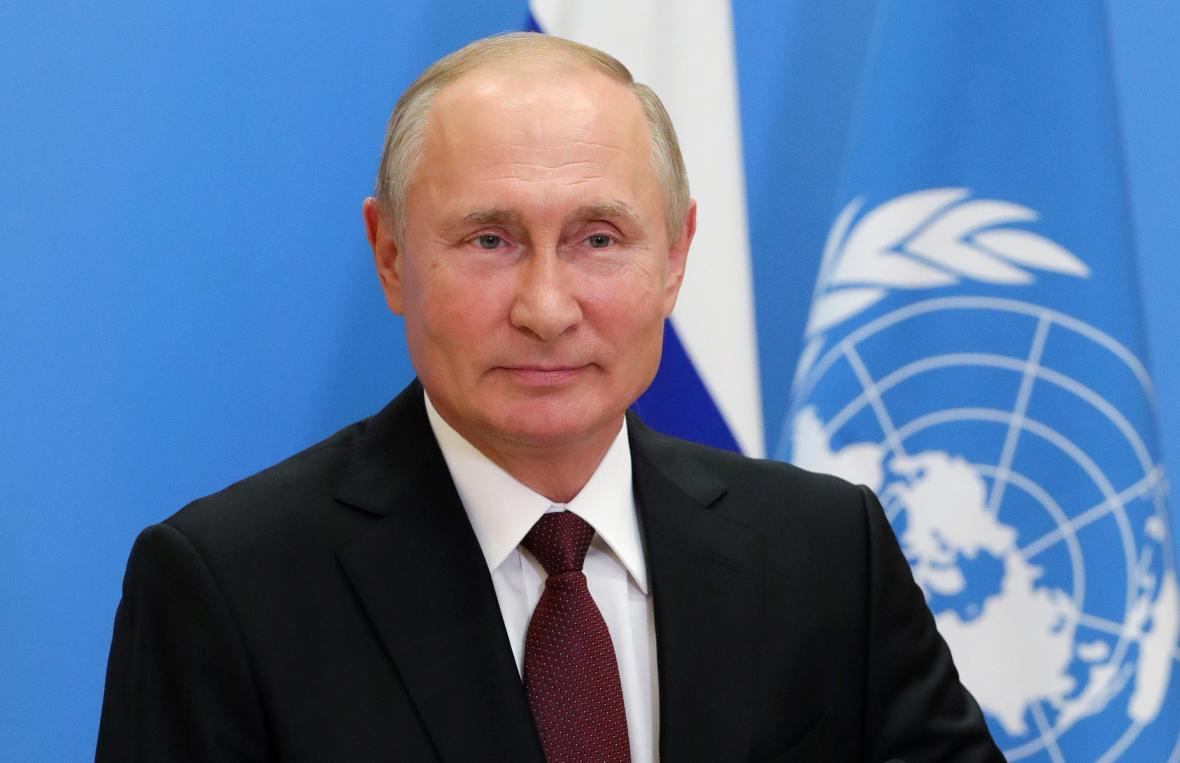 Vladimir Putin během projevu na Valném shromáždění