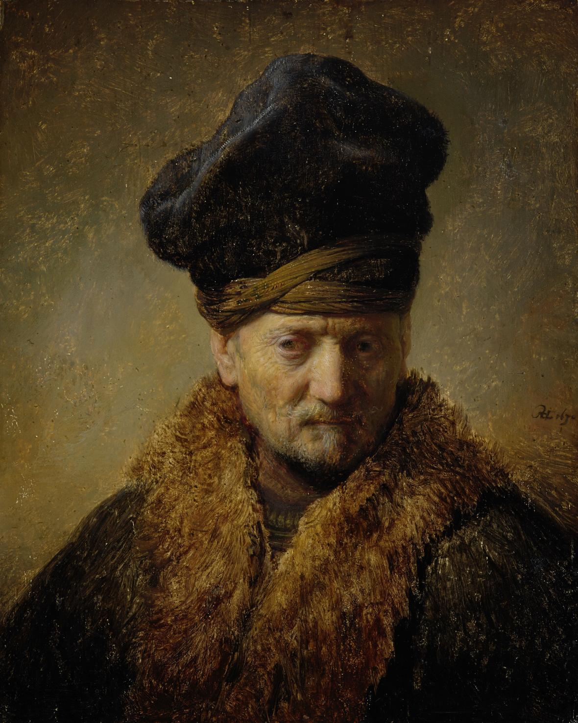 Rembrandt / Poprsí muže v kožešinové čepici, 1630