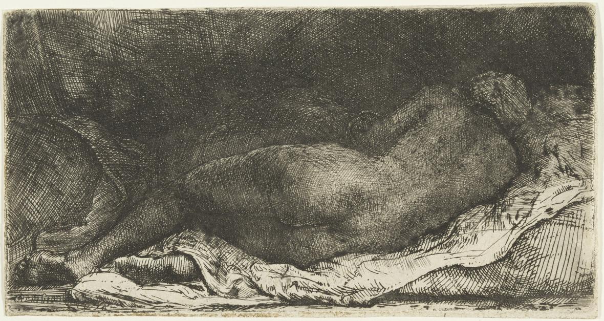 Rembrandt / Ležící ženský akt (