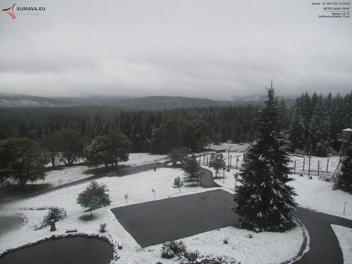 Na Šumavě napadl letos první sníh v noci na 26.září