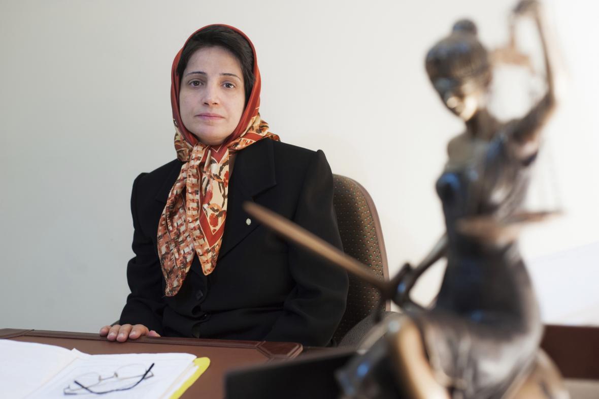 Íránská právnička a bojovnice za lidská práva Nasrín Sotudíová