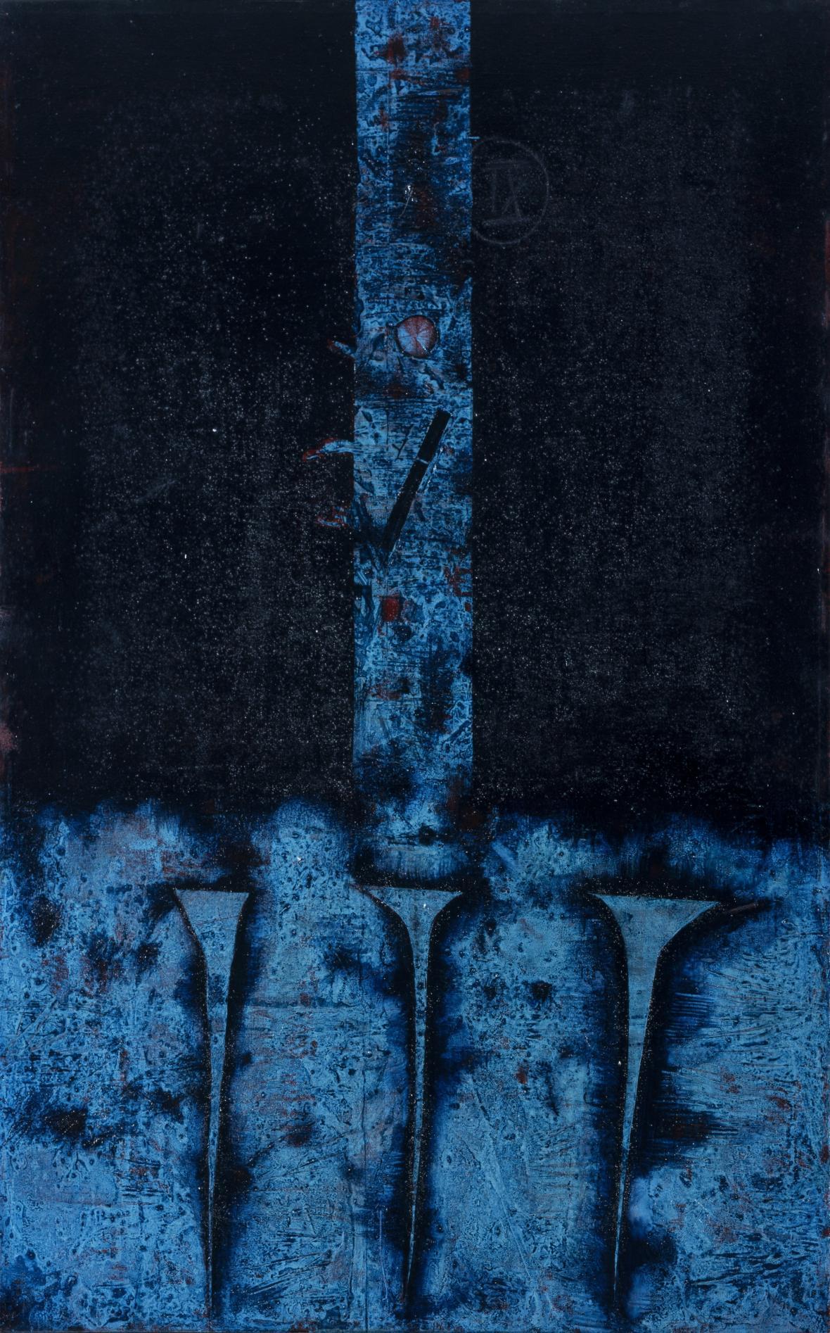 Mikuláš Medek / Křížová cesta, zastavení jedenácté (Ježíš je ukřižován), 1971, kostel sv. Josefa, Senetářov