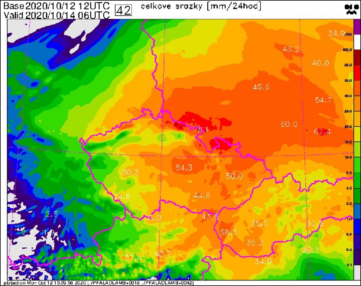 Předpověď množství srážek do čtvrtečního rána podle modelu ALADIN