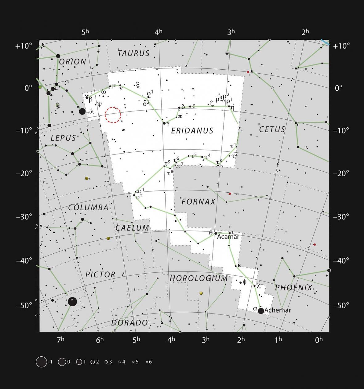 Poloha záblesku AT2019qiz na obloze v souhvězdí Eridanus