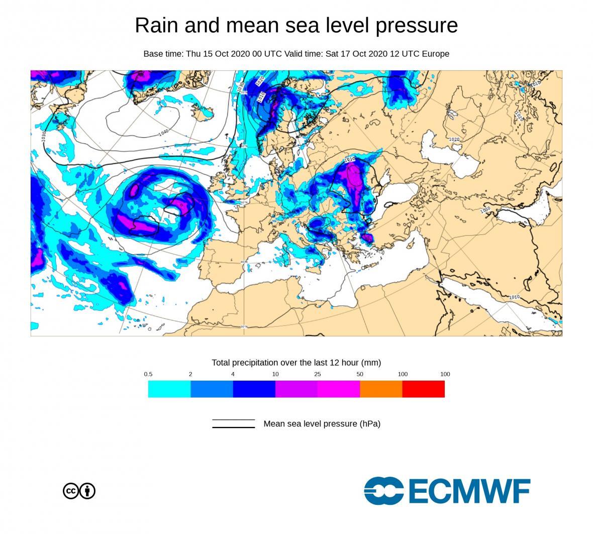 Předpověď 12h úhrnů srážek do sobotního poledne