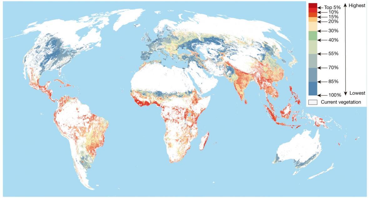 Priorita opětovného zalesnění/uvedení ekosystému do původního stavu z hlediska účinnosti vázaní uhlíku z atmosféry. Čím nižší procento, tím vyšší priorita