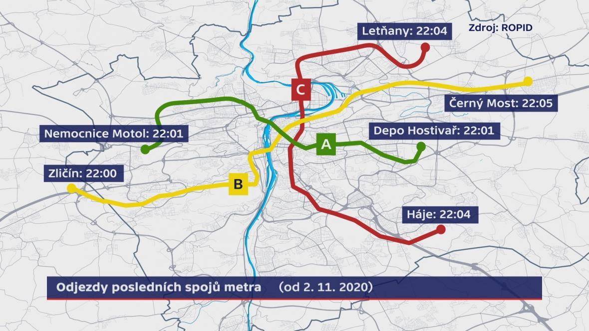 Odjezdy posledních spojů metra v Praze