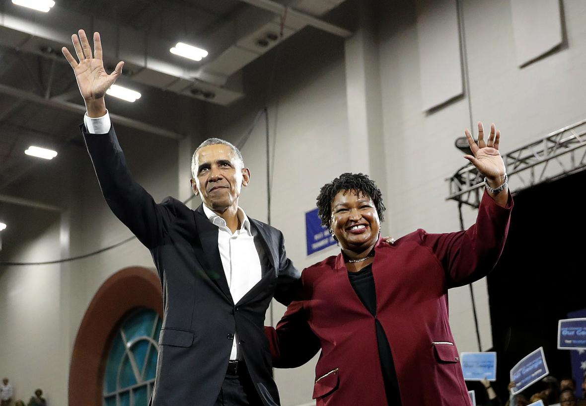 Stacey Abramsová s Barackem Obamou během kampaně v roce 2018
