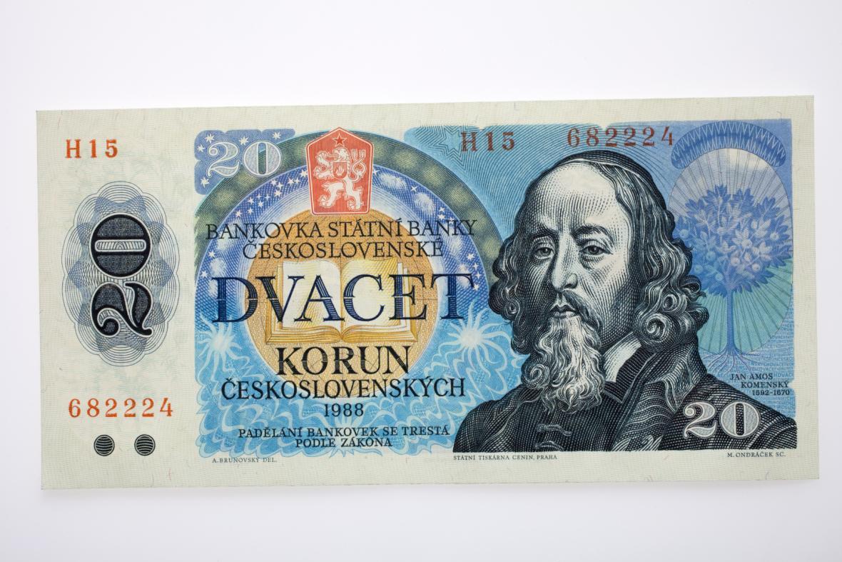 Papírová dvacetikoruna s portrétem Komenského, která platila mezi od 1988 do 1993