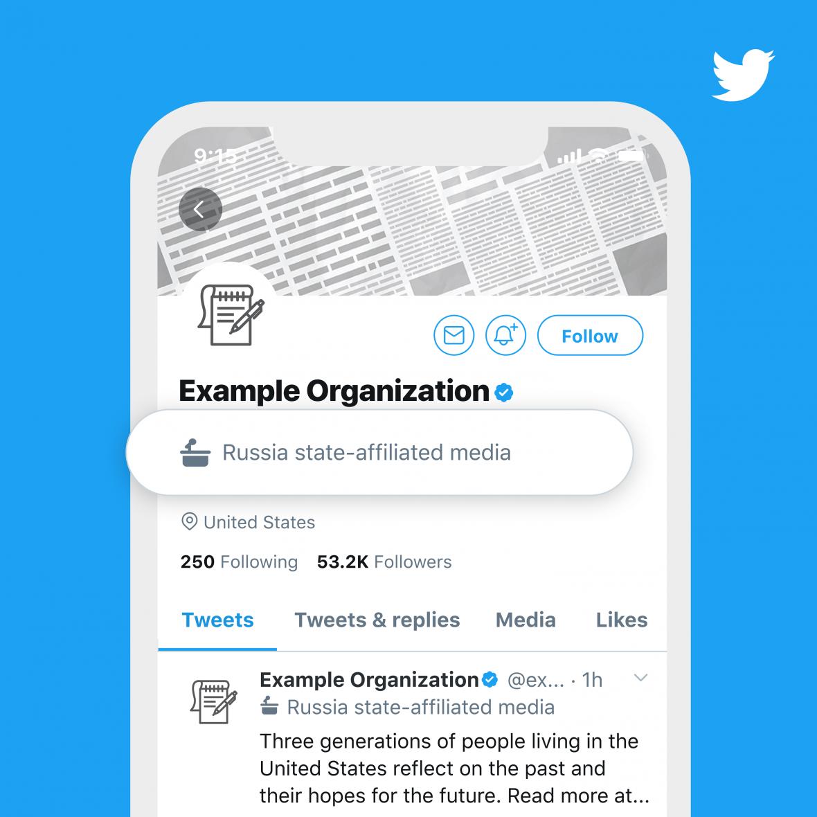 Takto Twitter označil ruská státní média