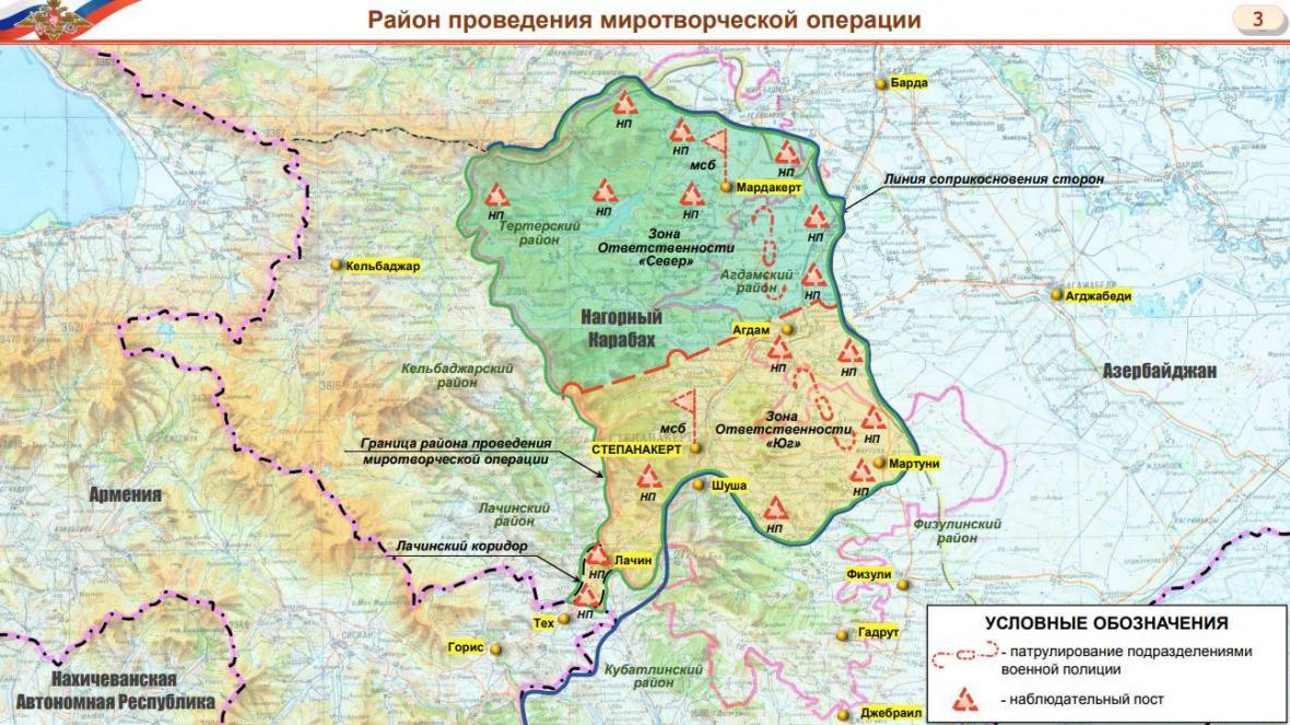 Rozmístění ruských sil v Karabachu