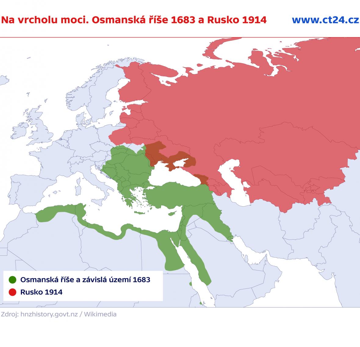 Na vrcholu moci. Osmanská říše a závislá území 1683, Rusko 1914
