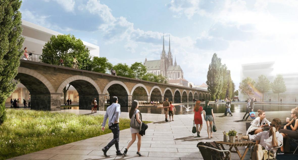 Vizualizace: Viadukt a park na místě stávajícího kolejiště