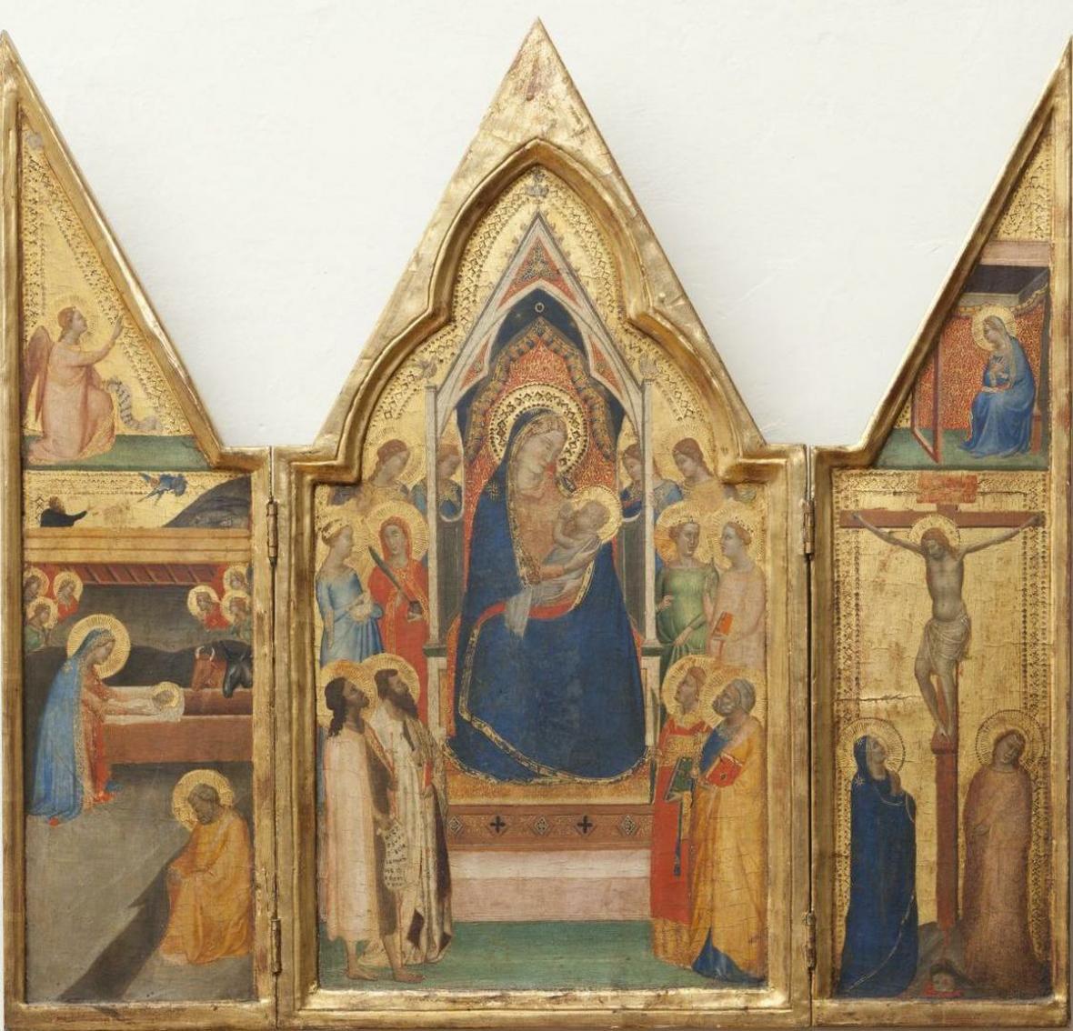 Bernardo Daddi / Triptych s trůnící Pannou Marií s dítětem, anděly, světicemi a světci (kolem 1340)
