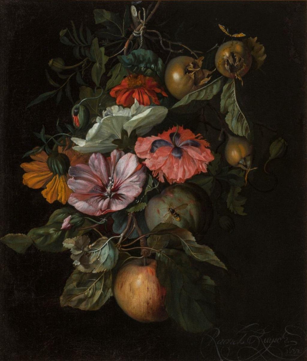 Rachel Ruyschová / Zátiší s květinami a ovocem (1682)