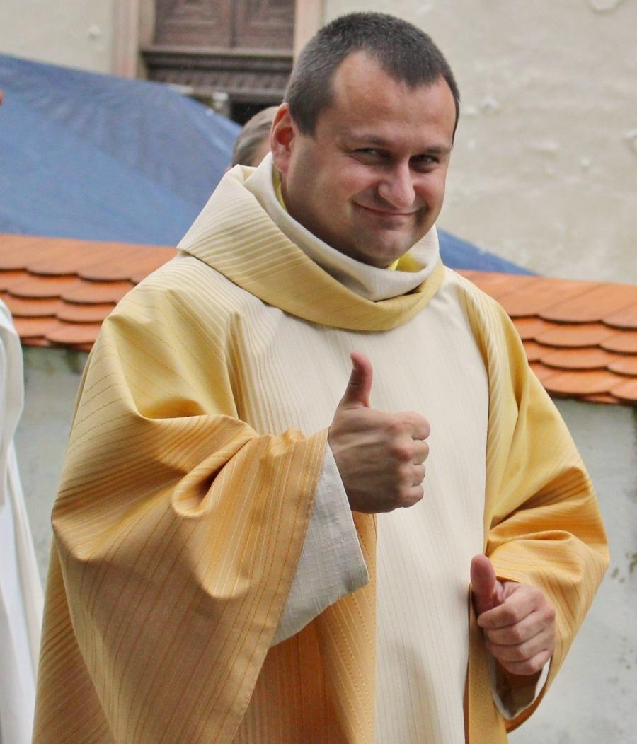 Jan Lukeš po jedné z prvních bohoslužeb