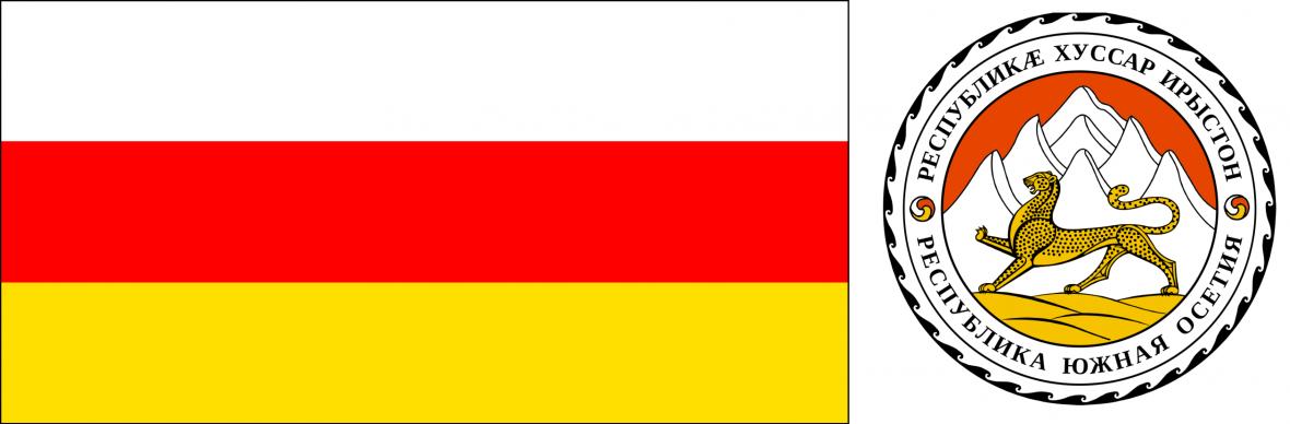 Jižní Osetie: vlajka (od 1990) a znak (od 1999)