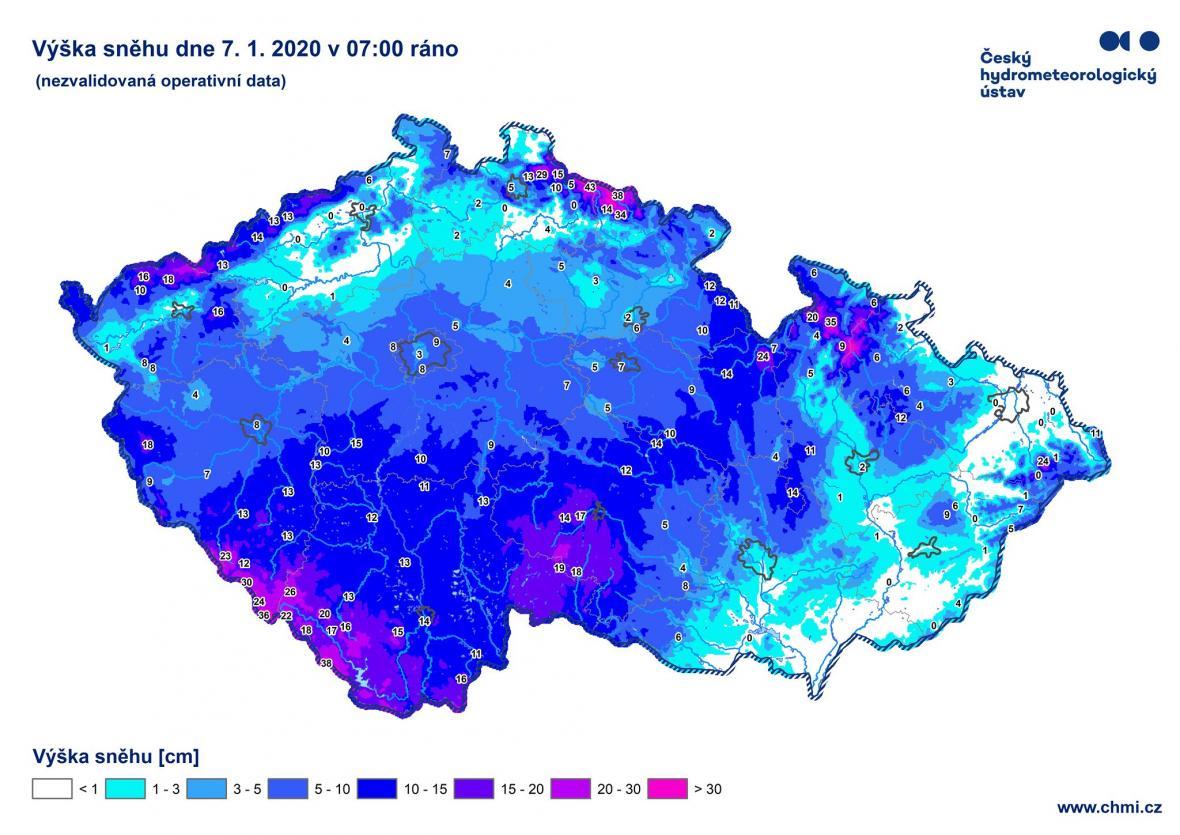Výška sněhu 7. ledna 2021 v 7 hodin ráno