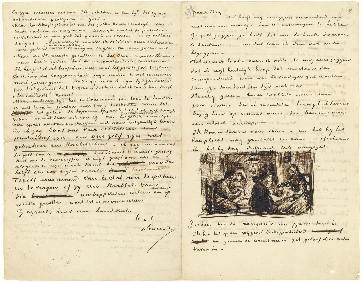 Dopis Vincenta van Gogha bratru Theovi se skicou Jedlíků brambor (1895)