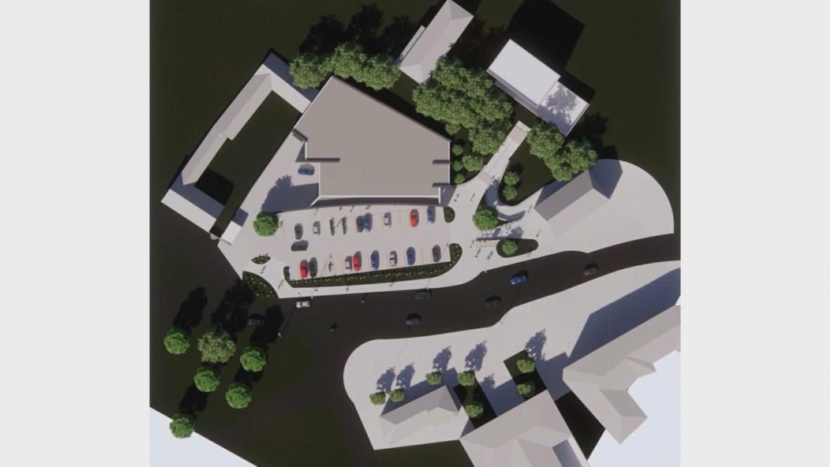 Vizualizace centra obce v Drnovicích