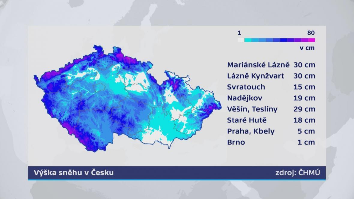 Výška sněhu v Česku