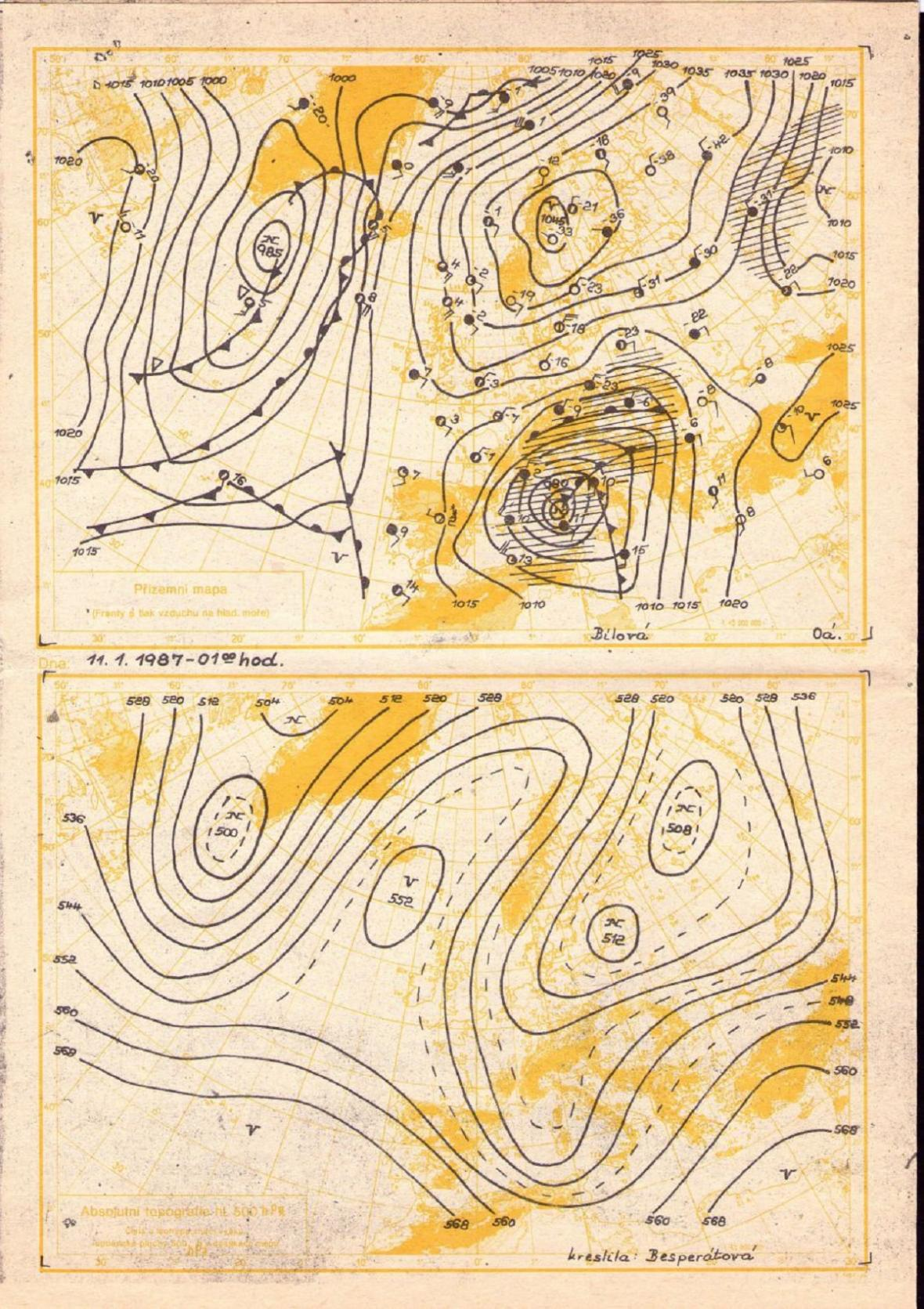 Povětrnostní situace z 11. ledna 1987