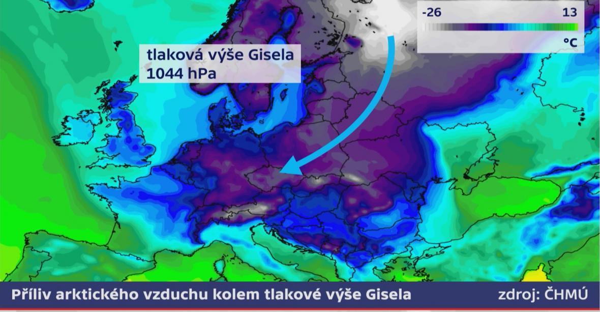 Tlaková výše Gisela nad jižní Skandinávií