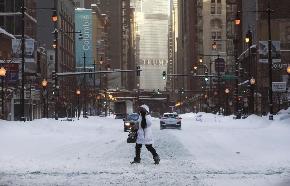chicago, usa, mráz, sníh