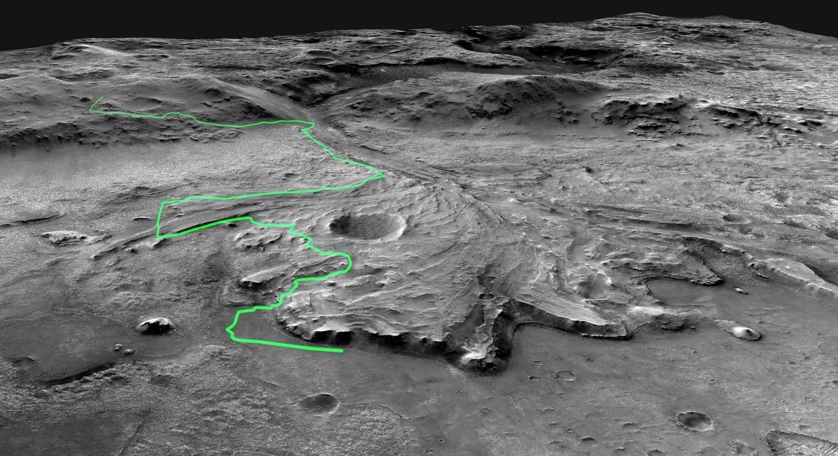 Plánovaná trasa Perseverance na Marsu