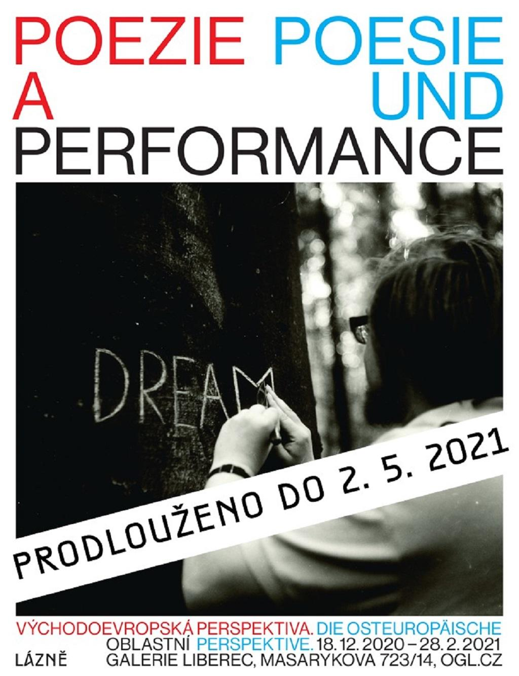 Plakát k výstavě Poezie a performance